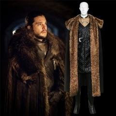 Game of Thrones Season 8 Jon Snow Cosplay Costume With Cloak Outfit Fur Coat