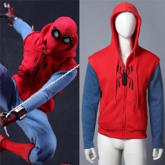 2017 Spiderman Homecoming Costume Hoodie Spiderman Peter Sweatshirt Zipper Men's Sweater Halloween Cosplay Props