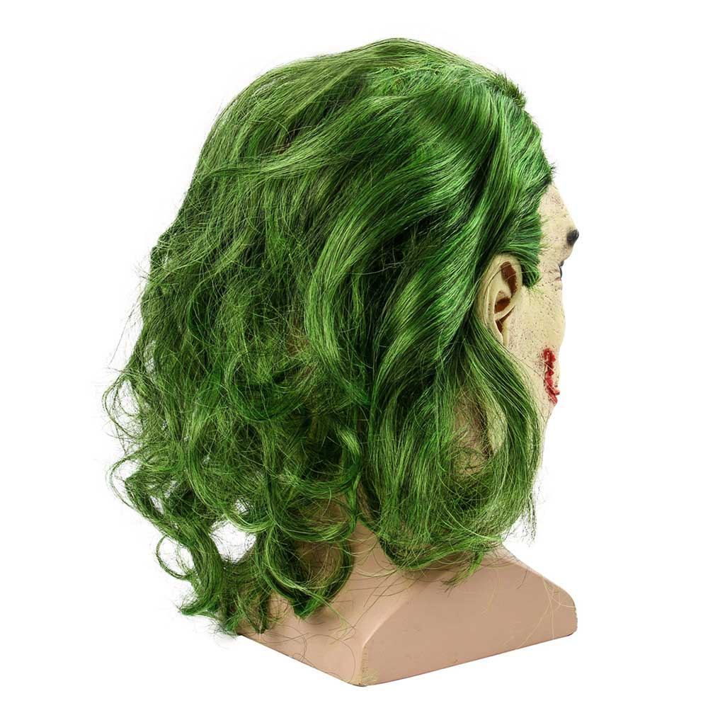 Joker Face Mask Movie Batman The Dark Knight Halloween Cosplay Horror Scary Clown Mask with Green Hair Wig