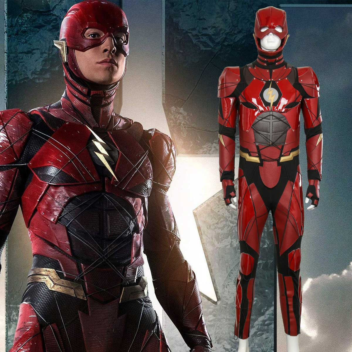 The Flash Costume Justice League The Flash Cosplay Red Leather Suit Jumpsuit Halloween Costumes
