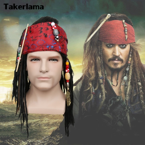 Takerlama Pirates of The Caribbean Pirate Captain Jack Sparrow Wig