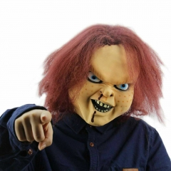Scary Horror Child's Play Chucky Cosplay Latex Face Mask Halloween Cosplay Masquerade Party Props Brown
