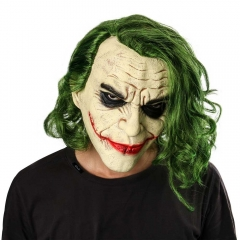 Joker Face Mask with Wig Movie Batman The Dark Knight Halloween Cosplay Clown Accessories