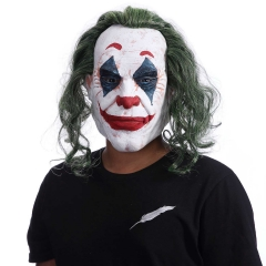 Joker Face Mask With Wig Movie Batman The Dark Knight Halloween Cosplay