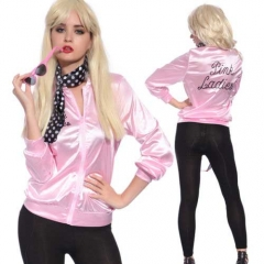 Takerlama In Stock Pink Ladies Jacket Grease 2 Sandy Cosplay Costume With Scarf