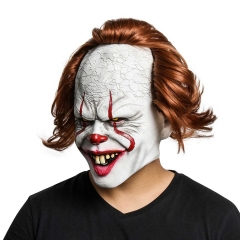 Pennywise Halloween Cosplay Latex Mask Stephen King's Costume Wig It Chapter 2
