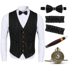Mens Gangster Stripe Vest Set 1920s Gatsby Party Outfits