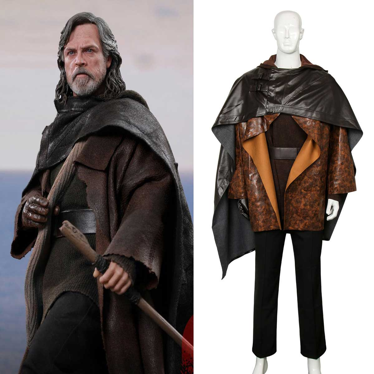 Luke Skywalker Star Wars Last Jedi Fancy Dress Halloween Deluxe Adult Costume