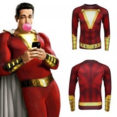 2019 Shazam Billy Batson T-Shirt Superhero Cosplay Costume