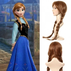 Takerlama Frozen 2 Adult Anna Brown Braid Disney Princess Wigs For Cosplay Party