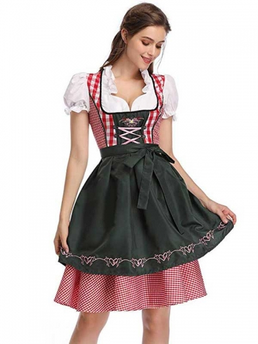 Women German Oktoberfest Beer Maid Fancy Dress Beer Girl Cosplay Costume Takerlama