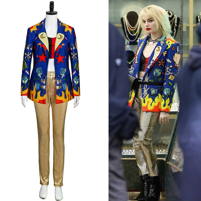 Takerlama Birds Of Prey Harley Quinn Blazer Set Cosplay Costume For Women Joker