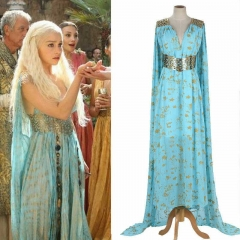 Game Of Thrones Mother of Dragons Daenerys Targaryen Qarth Blue Dress Costume Cosplay Wedding Party Dress