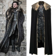 Game of Thrones Season 8 Jon Snow Cosplay Costume Full Set Cloak Overcoat Vest Scarf Trousers