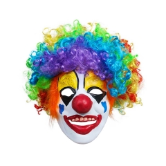 Clown Mask With Colorful Clown Wig