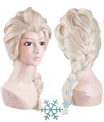 Frozen2 Elsa Blonde long Braided Cosplay Wig with 6 Hairpins