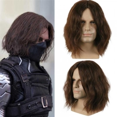 Captain America Civil War Winter Soldier Bucky Barnes Cosplay Wigs Toupee Hair