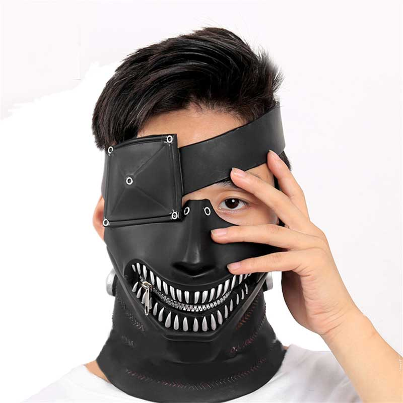 Black Half Face Leather Mask Halloween Movie Props Cosplay Handmade Mask Costume