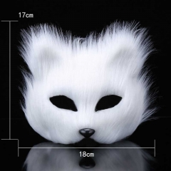 Animal White Plastic Villus Fox Mask Cosplay Party Half Face Masks Cat Mask Halloween Masquerade Props