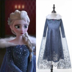 Olaf's Frozen Adventure Princess Elsa Sparkly Party Cosplay Costume For Kids Girl