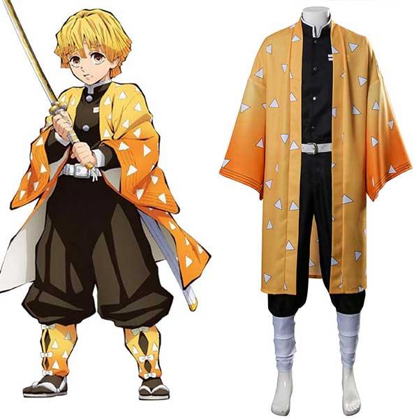 Zenitsu Agatsuma Uniform Demon Slayer: Kimetsu no Yaiba Cosplay Costume