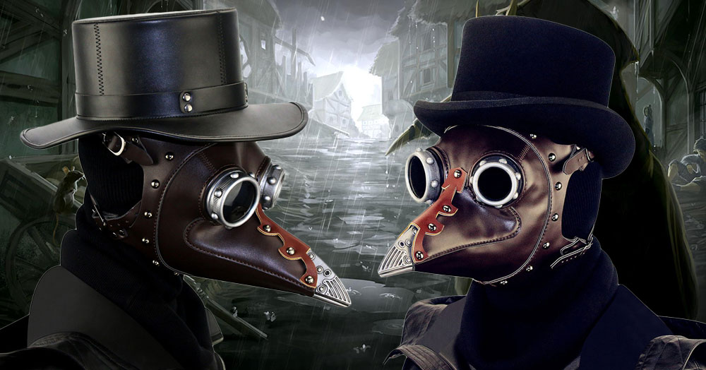 Medieval Steampunk Black Death Plague Doctor Bird Beak Mask For Retro Halloween Cosplay