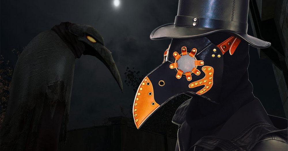 Steampunk Plague Bird Mask Doctor Mask Gold & Black PU Leather Bird Beak Mask