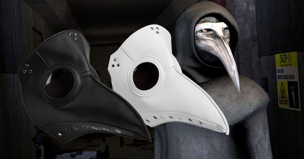 Deluxe Black Death Plague Doctor Birds Long Nose Beak Faux Leather Mask