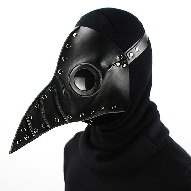 Steampunk Leather Gothic Plague Doctor Beak Mask Halloween Party Prop White