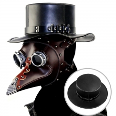 PU Leather Plague Doctor Magic Hat Punk Steampunk Neutral Cosplay Hat