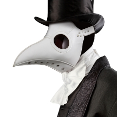 Deluxe Black Death Plague Doctor Birds Long Nose Beak Faux Leather Mask