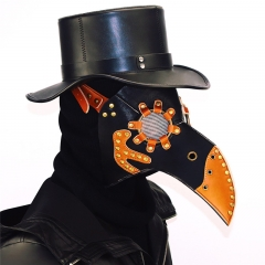 Steampunk Plague Bird Mask Doctor Mask Gold & Black PU Leather Bird Beak Mask