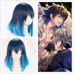 Inosuke Hashibira Blue Synthetic Cospaly Wig Anime Demon Slayer Kimetsu no Yaiba