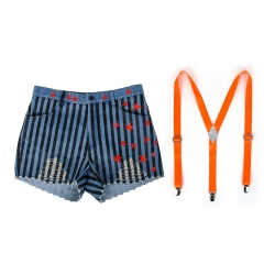 Birds of Prey Harley Quinn Pinstripe Short & Neon Orange Suspenders