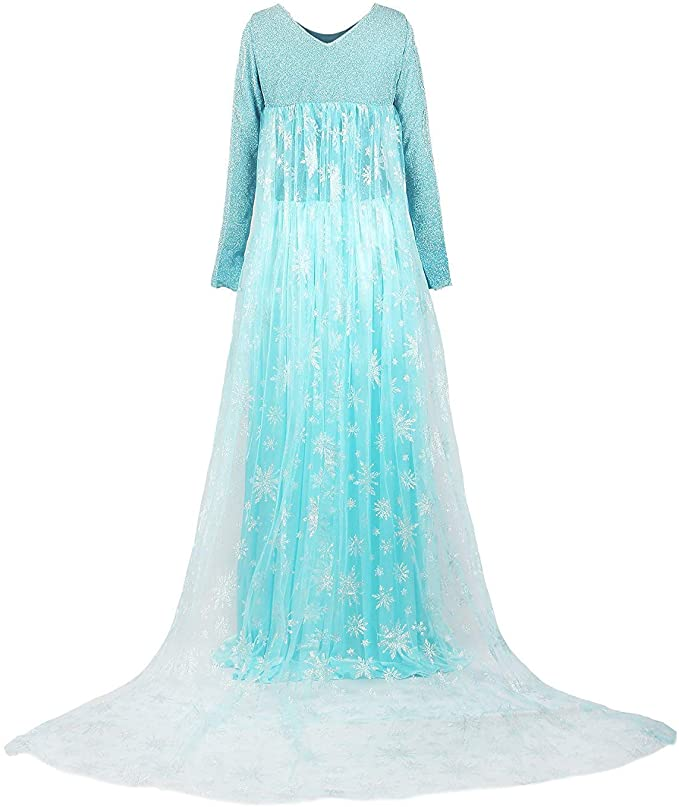 Takerlama Disney Frozen 2 Princess Elsa Sparkly Dress Party Cosplay Costume Trailing Cloak Dress For Women