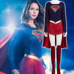 Supergirl Kara Zor-l Cosplay Costume Jumpsuit Skirt Cloak
