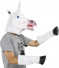 White Unicorn Horse Head Mask Hooves Gloves Halloween Costume Adult