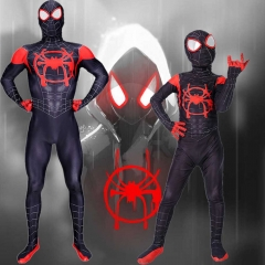 Spider-Man: Into The Spider-Verse Miles Morales Kids Cosplay Costume Jumpsuit
