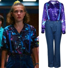 Eleven Cosplay Costume Stranger Things Season 3 Shirt Suspender Pants