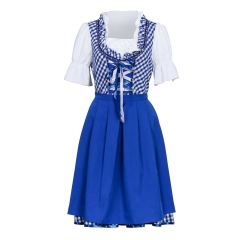 Oktoberfest Costume Blue Bavarian Beer Girl Dress Apron Shirt
