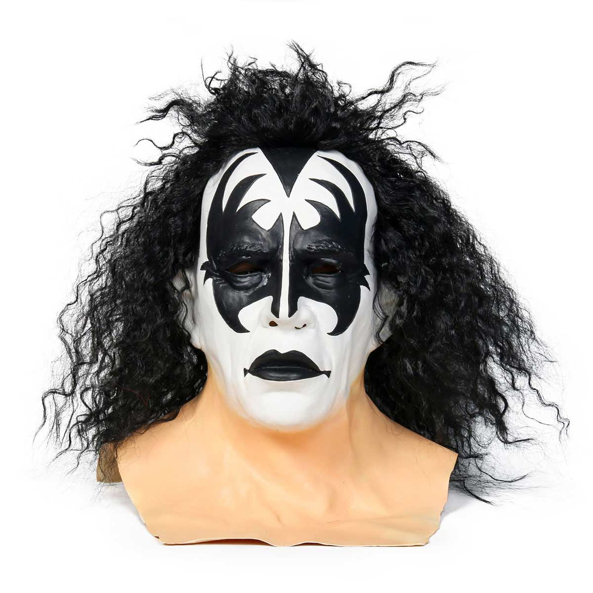 Kiss Gene Simmons Demon Latex Mask Halloween Cosplay Wig Carnival Masquerade Accessory Prop-Takerlama