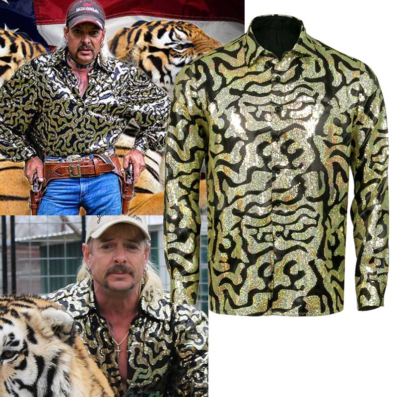 Men's Tiger King Joe Exotic Trainer Halloween Cosplay Costume Sequin Button Blue Gold Shirt-Takerlama