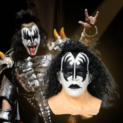 Kiss Gene Simmons Demon Latex Mask Halloween Cosplay Wig