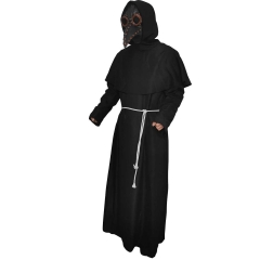 Steampunk Black Death Plague Doctor Cospaly Costume Tunic Hooded Uniform