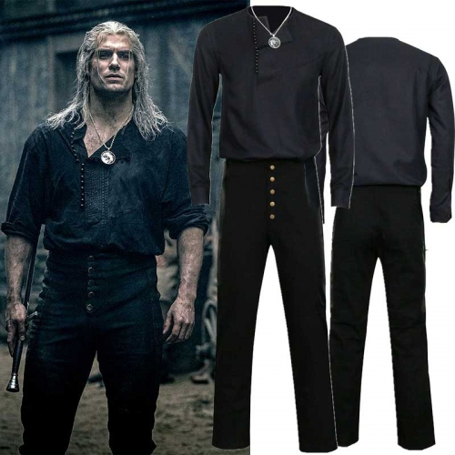 The Witcher Season 1 Geralt of Rivia Cosplay Costume With Necklace