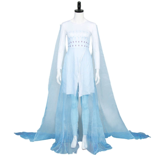 Frozen 2 Elsa Ahtohallan Cave Ice Outfit Queen Cosplay Costume Blue Dress Wig