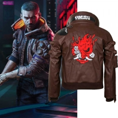 Unisex Cyberpunk 2077 V Bomber Cosplay Jacket Samurai Leather Costume