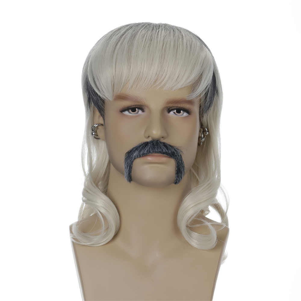 Men's Tiger King Joe Exotic Trainer Halloween Cosplay Costume Wig Synthetic Hair With Goatee Earings-Takerlama