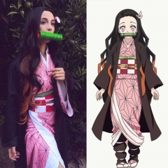 Demon Slayer Kimetsu no Yaiba Nezuko Kamado Women Kimono Halloween Cosplay Costume