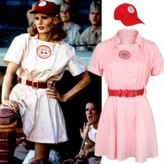 A League of Their Own Rockford Peaches Cosplay Costume AAGPBL Women Pink Baseball Dress Cap